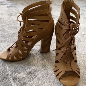 Call It Spring Aleawen Brown Suede Block Heels